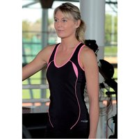PT Ladies Running Vest Black/Pink 10 (34inch)