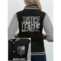 Justice League Movie - Logo Women's Medium Varsity Jacket - Black