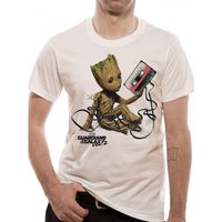 Guardians Of The Galaxy 2 Groot & Tape Men's XXX-Large T-Shirt - White
