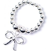 Bow Charm With Sterling Silver Ball Bead Ring