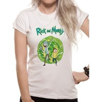 Rick And Morty - Portal Women's Large T-Shirt - White