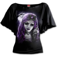Goth Doll Boat Neck Bat Sleeve Women's Large Short Sleeve Top - Black
