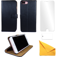 iPhone Black Leather Phone Case + Free Screen Protector Flip Wallet Gadgitech iPhone 7 New