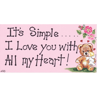 It's Simple, I love You with all my Heart Smiley Sign Pack Of 12