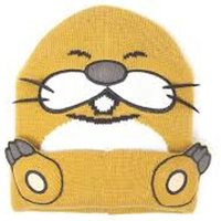 Nintendo Super Mario Monty Mole Cuffed Beanie with 3D Whiskers and Feet - Orange