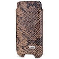 SOX Serpente Genuine Leather Premium Mobile Phone Pouch for iPhone/Samsung and more, Large, Brown (SOX KSE 03 L)