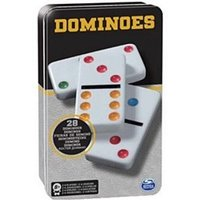 Classic Double 6 Colour Dominoes in Black & Gold Tin Board Game