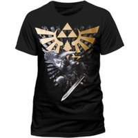 Zelda Mens Gold Link Logo T-shirt Size Large