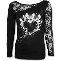 Doves Heart Women's Small Lace One Shoulder Long Sleeve Top - Black