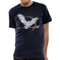 Harry Potter - Hedwig Broom Men's Large T-Shirt - Blue