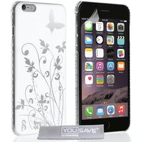 YouSave Accessories iPhone 6 Plus / 6s Plus Butterfly Case - White/Silver