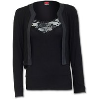 Gothic Elegance 2In1 Lace Vest Cardigan Women's Small Long Sleeve Top - Black