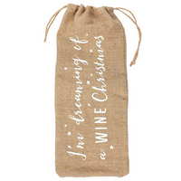 Dreaming Of A Wine Christmas Hessian Bottle Bag