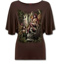 Woodland Fairy Boat Neck Bat Sleeve Women's Small Short Sleeve Top - Brown