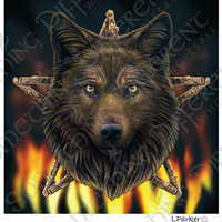 Wild fire wolf card by Lisa Parker