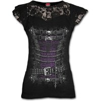 Waisted Corset Lace Layered Cap Sleeve Women's X-Large Short Sleeve Top - Black