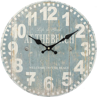 Distressed Look Blue Beach Wall Clock