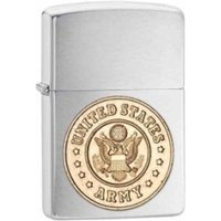 Zippo US Army Emblem Brushed Chrome Windproof Lighter