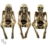 Three Wise Skeleton Shelf Sitting Figurines
