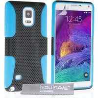 YouSave Accessories Samsung Galaxy Note 4 Mesh Combo Case - Blue-Black