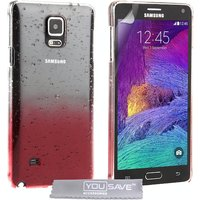 YouSave Accessories Samsung Galaxy Note 4 Raindrop Case - Red-Clear