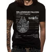 Star Wars - Falcon Blueprint Men's XX-Large T-Shirt - Black