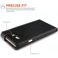 YouSave Accessories Samsung Galaxy A7 Leather-Effect Flip Case - Black with White Stitching
