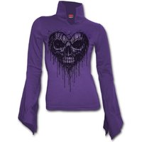 Dripping Heart Women's Medium High Neck Long Sleeve Goth Top - Purple