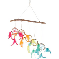 5 Dream Catchers On Wood