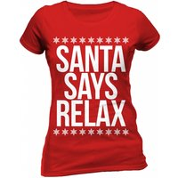 Christmas Generic - Santa Says Relax Women's Large Fitted T-Shirt - Red