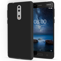 Nokia 8 TPU Gel Case With Metal Coating - Black