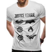 Justice League Movie - Logo And Symbols Men's XX-Large T-Shirt - White