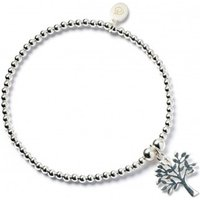 Tree of Life Charm with Stering Silver Ball Bead Bracelet