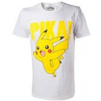 Pokemon Pikachu Pika! Raised Print Men's Medium T-Shirt - White