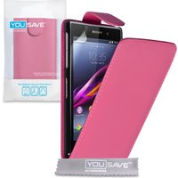 YouSave Accessories Sony Xperia Z1 Leather-Effect Flip Case - Hot Pink