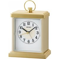 Seiko QHE148G Sweep Second Hand Beep Alarm Clock with Gold Case