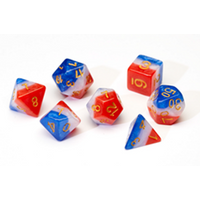 Sirius Dice - Red, White, Blue Semi-Transparent Poly Set