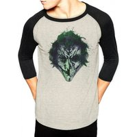 Batman - Joker Art Face Men's Small Long sleeved T-Shirt - Grey