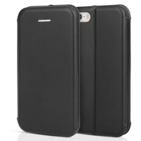 Apple iPhone 5 / 5S / SE PU Leather Stand Wallet with Felt Lining/ID Slots - Black