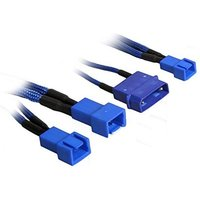 BitFenix Alchemy Molex to 3x 3-Pin Adapter 20cm - sleeved blue/blue