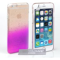 YouSave Accessories iPhone 6 / 6s Raindrop Hard Case - Purple/Clear