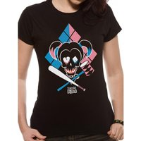 Suicide Squad - Cartoon Harley Quinn Women's X-Large T-Shirt - Black