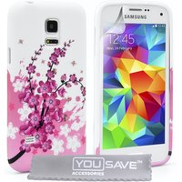 YouSave Accessories Samsung Galaxy S5 Mini Floral Bee Gel Case - Pink-White