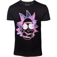 Rick and Morty - Neon Rick Face Men's Large T-Shirt - Black