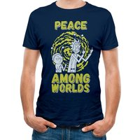 Rick And Morty - Peace Among Worlds Men's XX-Large T-Shirt- Blue
