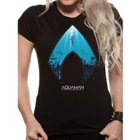 Aquaman Movie - Logo And Symbol Women's Small T-Shirt - Black