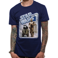Star Wars - Droids Retro Badge Men's X-Large T-Shirt - Blue