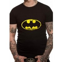 Batman Distressed Logo DC Essentials Range T-Shirt Small - Black