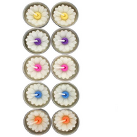 Box of 10 Daisy Candles with Coloured Centre