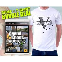 Grand Theft Auto GTA V (Five 5) (Atomic Blimp DLC) & Wanted V T-Shirt in Large Game
